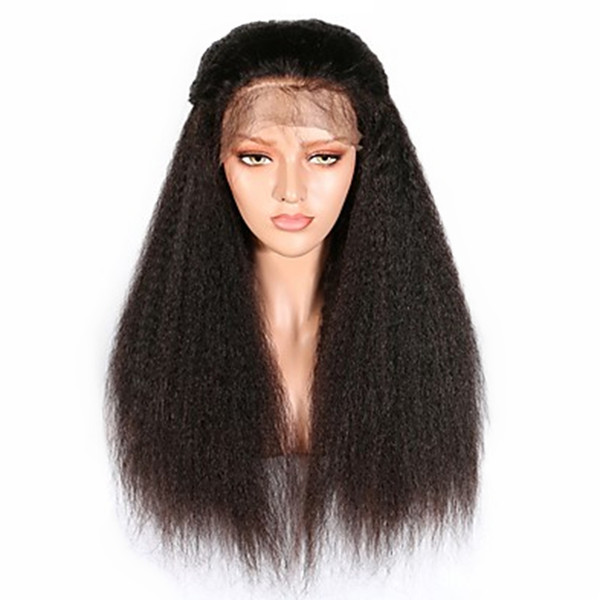 Fashion Black Long Kinky Straight Synthetic Lace Front Wigs For Women Full Density Heat Resistant Fiber Natural Look Wigs with Baby Hair