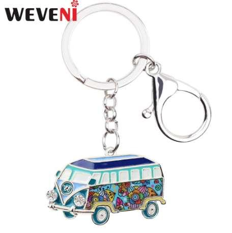 WEVENI Metal Bus Car Shape Key Chain Key Ring Bag Charm Van Model Keychain Souvenir Fashion Accessories Enamel Jewelry For Women