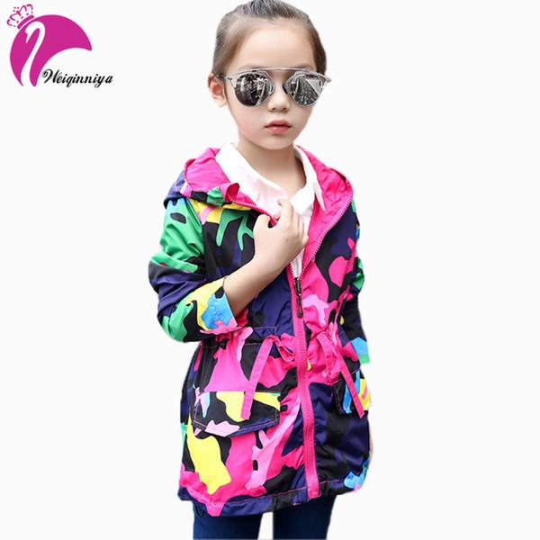 Kızlar Için Kızlar Için Rüzgarlık Ceketler Bahar Giyim Kapüşonlu Trençkot Kız Moda Çocuk Ceket Çocuklar Için Ceket Kız Sıcak Y1891203