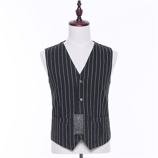 Men British Style Suit Vest Black White Stripes Waistcoat Gilet For Men Casual Vintage Pockets Classic Wedding Vests Coat Male