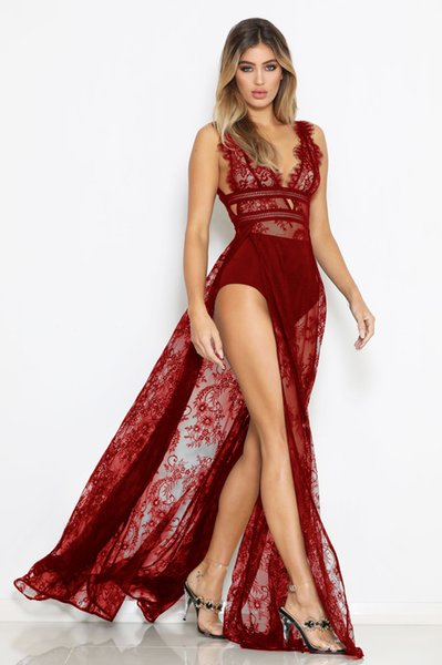 free shipping sexy perspective lace high slit deep v-neck nightclub dresses see through hot sale maxi long lace dresses black red blue