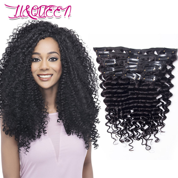 Brazilian Virgin Human Hair Deep Wave Curly 140g Clip In Hair Extensions 10-28inch Deep Wave Clips 140g Full Head Natural Color 7Pcs/set
