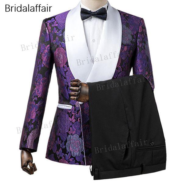 Gwenhwyfar Custom Made Damat Smokin Slim Fit Mor Çiçek Baskılı Erkekler Suit Set Düğün Balo Için Mens Suits 2 Adet (Ceket + Siyah Pantolon)