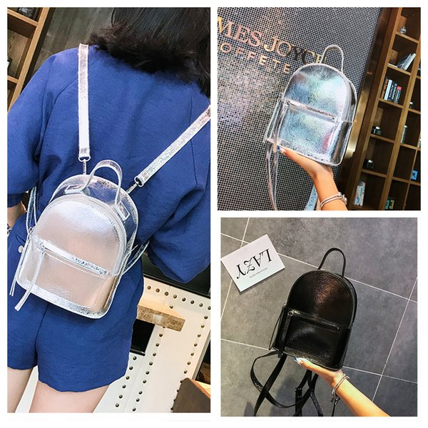 Girls PU Small Glittering Laser Backpack Leather Silver Black For Women Shoulder Bags Travel Casual Shcool Bags 40pcs AAA659