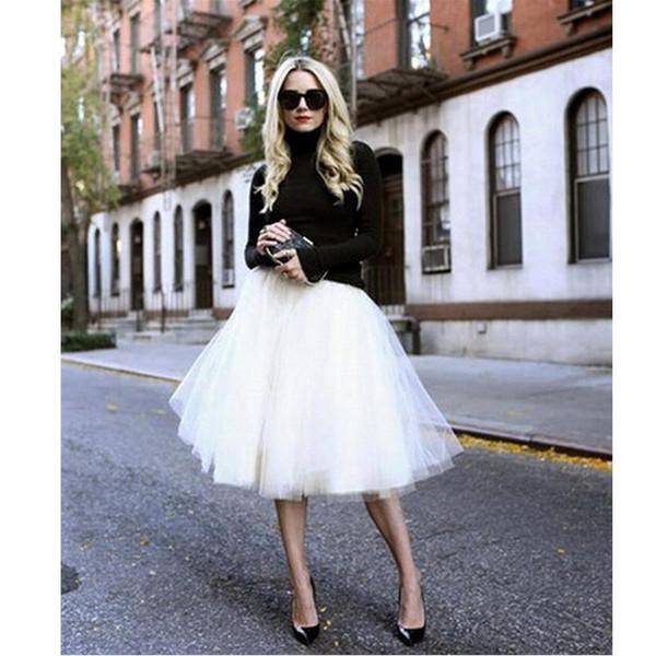 Women Chiffon Puff Tulle Skirt White faldas High waist Midi Knee Length Chiffon plus size Grunge Jupe Female Tutu Skirts