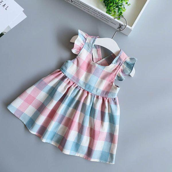 New Girls Plaid Skirt Ruffled Short Sleeve Sleeveless Breathable 100% Cotton Fabric Spring Summer Dresses 2-6T