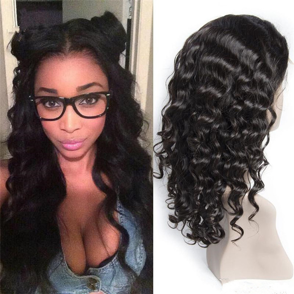 Full Lace Human Hair Wig Curly Deep Curl Malaysian Virgin Hair Water Wave With Baby Hair Pre-plucked Hairline Bleached Knots Lace Front Wig