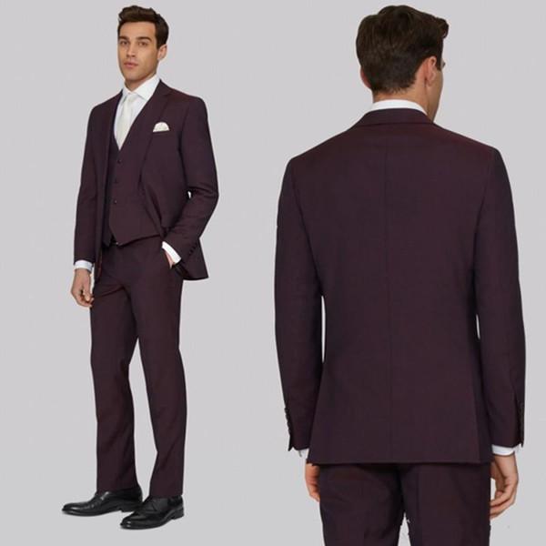 Handsome Men Suits Tuxedos For Wedding Dark Burgundy Groom Suits Custom Made Best Groomsmen Suits (Jacket+Vest+Pant)