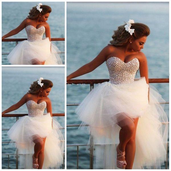 2019 High Low White pearls beach Wedding Dresses Tiered Skirts Sleeveless sweetheart Illusion Backless Bridal Gowns abiti vestido de novia
