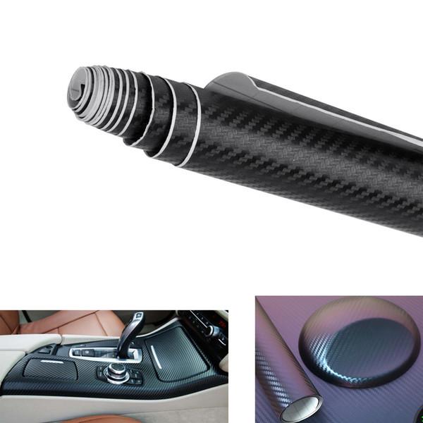 3D Car Auto Black Carbon Fiber Pannello interno Vinyl Wrap Sticker Decal Accessorio Durbale Fashion Car Decor