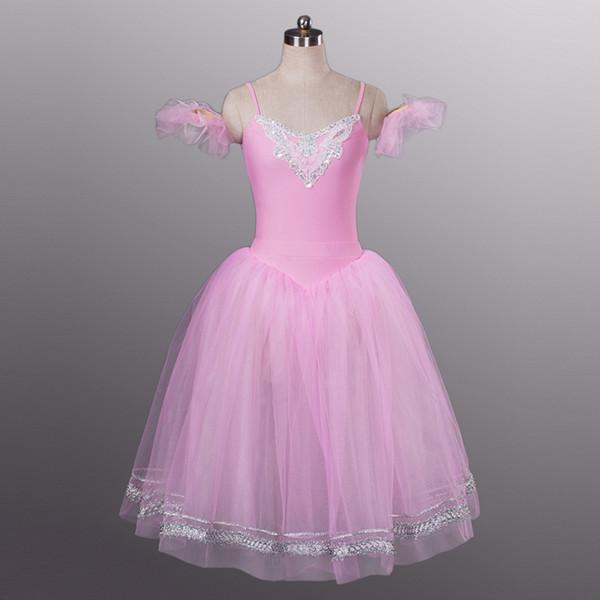 39b57025f Rosa Duas Peças Profissional Ballet Tutu Ballet Concorrência Estágio Longo  Dança Trajes Mulheres Desempenho Dança Vestido