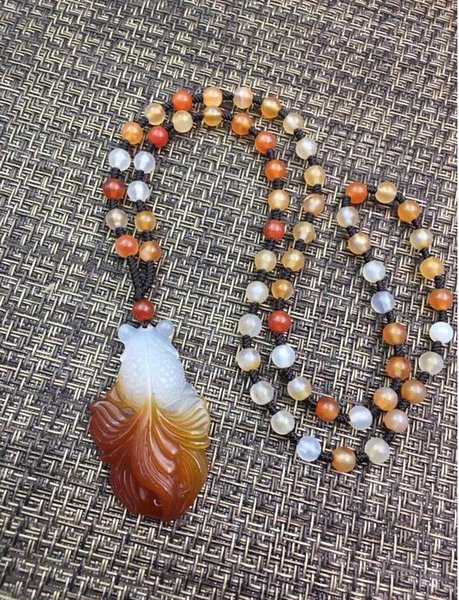 Jewelry Naturally Fashionable White Red Agate Goldfish Shape Pendant + Bead Necklace Free Shipping