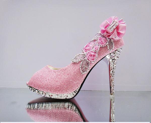 Banquet Wedding Party Womens Shoes Dance High Heels LadieSingle Shoess Stilettos Thick Heel 9 cm Crystal Platform Rhinestone peep shoes