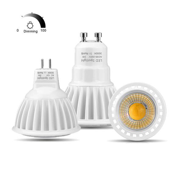 Алюминий GU10 вел AC 220V 110V MR16 GU5 света пятна.3 светодиодные лампы AC DC 12V свет 3W 5W 7W Затемняемый COB прожектор крытый