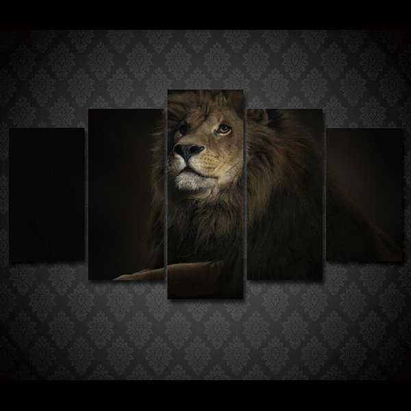 5 Piece Framed HD Printed lion king animal Still Life Canvas Painting Wall Art Picture Home Decor For Linving Room