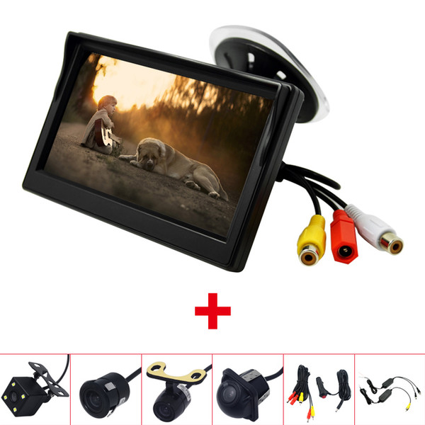 "wholesale Car 5""windshield Monitor With Rear View Backup Camera RCA Video System 2.4G Wireless & Cigarette Lighter Optional #2375"