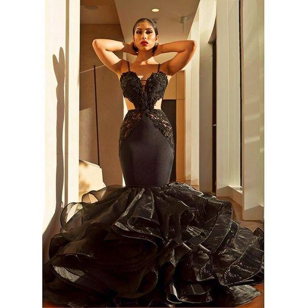 f42146d62b3 Schwarze Meerjungfrau Abendkleider Sweetheart Spaghetti-Trägern Sexy Lange  Abendkleider Perlen Rüschen Organza Rock Party Kleider