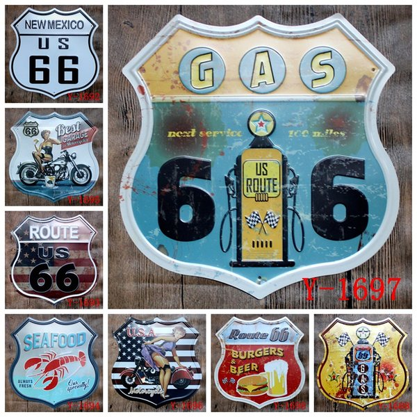 11 Styles Beer Motor Vintage Craft Tin Sign Oil Garage Route 66 Retro Metal Painting Poster Bar Pub Wall Art Sticker