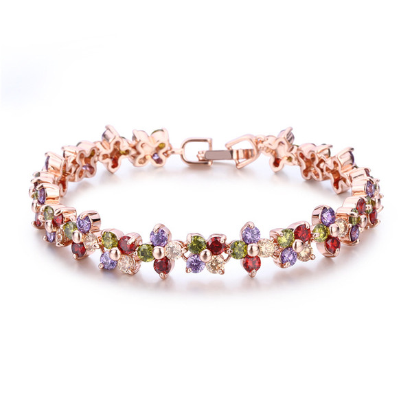Swarovski elements colorful AAArose gold zircon copper bracelet anti-allergy sumptuous dinner link chain women top quality jewelry gift