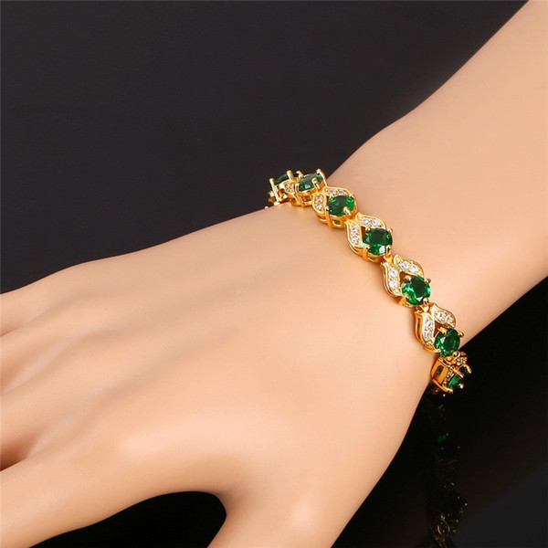 U7 Romantic Charm Bracelet Gold/Platinum Plated Synthetic Emerald 4 Colors Cubic Zirconia Women Fashion Jewelry Perfect Valentines Gift H986