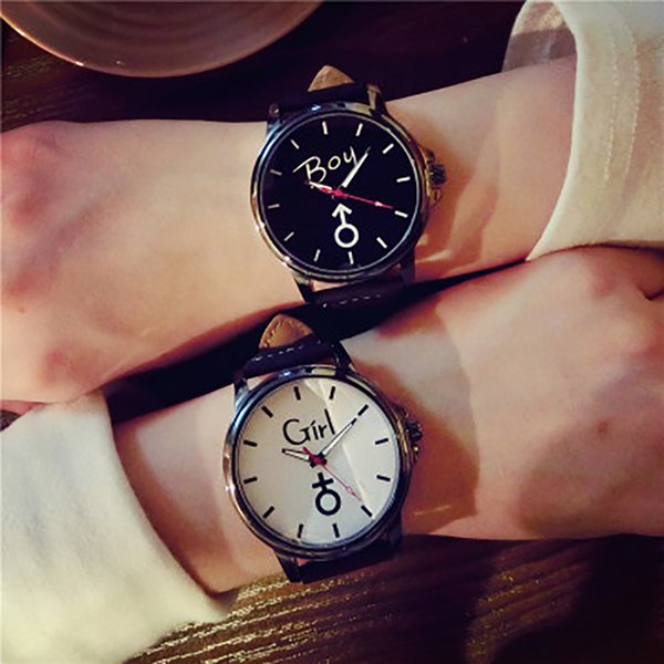 Gofuly 2017 Lover's Wristwatch Simple Stylish Couple Watch Luxury Girl and Boy Leather Quartz Clock Lovers Watch For Men Women