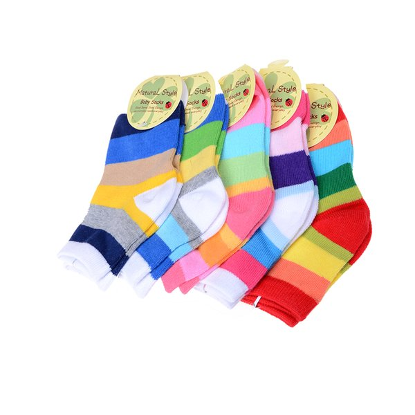 1 Pair for 1-3Y Baby Boys Girls Toddler Kids Rainbow Color Lovely Cute soft Coon Socks