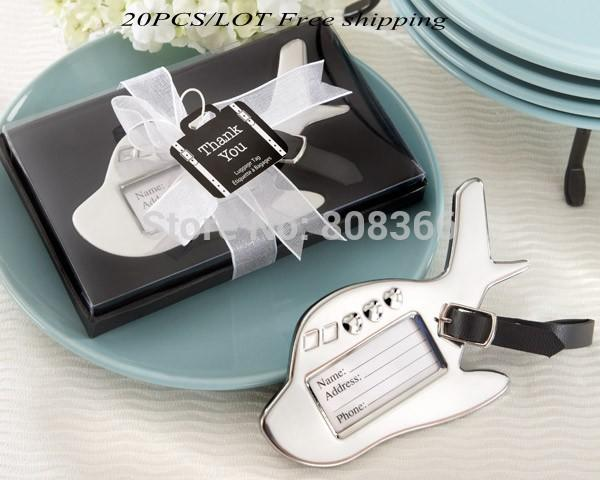 (20 pieces/lot) Wedding favor travel themed Airplane Luggage Tag Wedding Gift for guests For Party decoration gift Bridal shower
