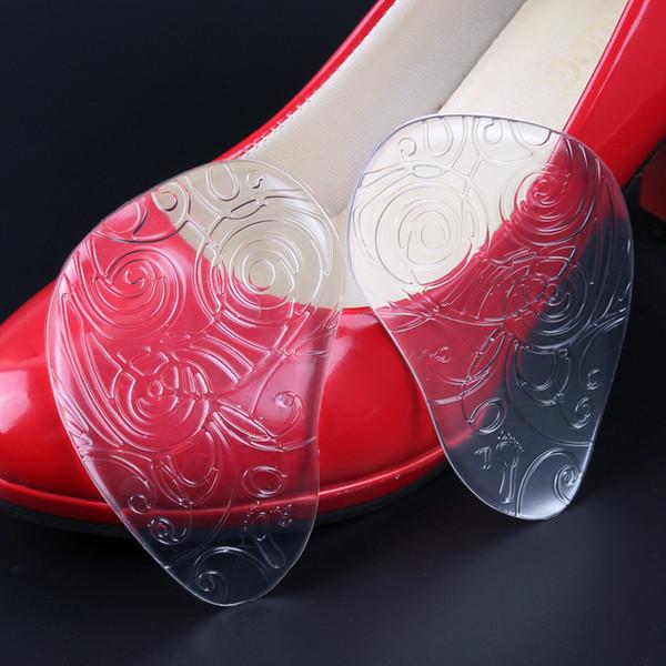 Силиконовые прозрачный половина размер стопы колодки каблуки женщины утолщение узоры передние колодки анти-боль половина колодки прозрачный