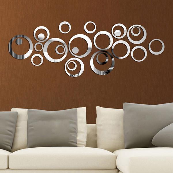 24 teile / satz 3D DIY Kreise Wandaufkleber Dekoration Spiegel Wandaufkleber für TV Hintergrund Home Decor Acryl Dekoration Wandkunst