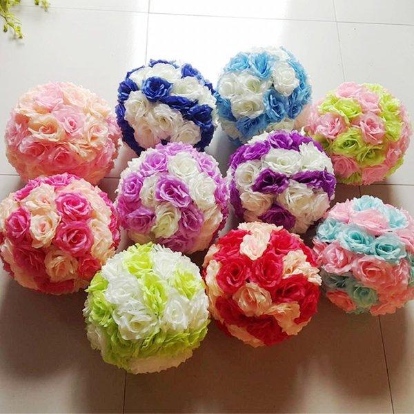 2018 15cm Artificial Silk Rose Pomander Flower Balls Wedding Party ...