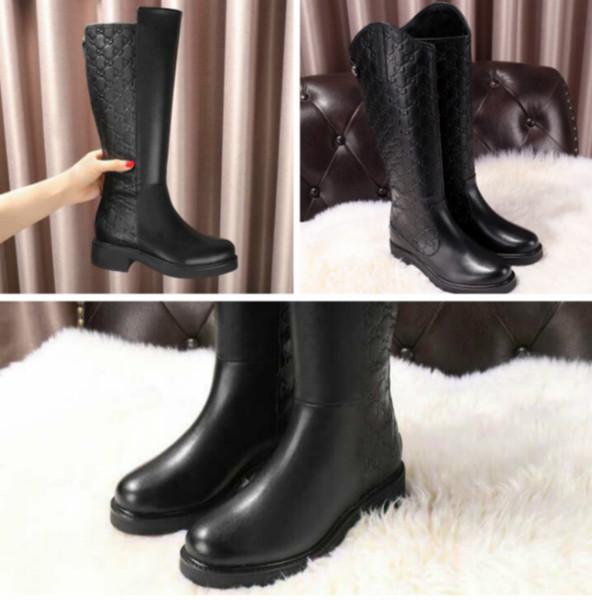 Compre Martin Botas De Gama Alta Personalizadas Botas Altas De Cuero Zapatos De Mujer Gruesos Con Botas Planas De Gran Tamaño Y Calidad Superior A