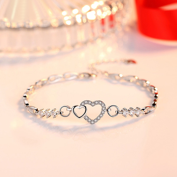 S925 Sterling Silver Heart Shaped Bracelet Womens India Valentines Day Birthday Gift