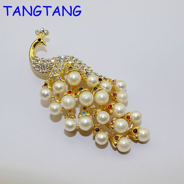 c6dc78163 Hotsale Fashion Golden Charming Crystal Rhinestone Peacock Pearl Jewelry  Gifts Decorations Pin Brooch, Item NO