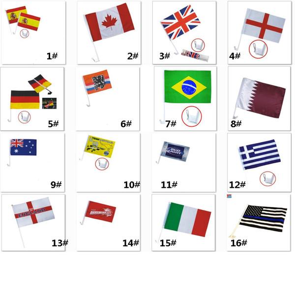 Bandiere banner Calcio Calcio 32 Country Car Flag Doppio lato in poliestere per auto Window Clip Advertising Flag 30 * 45cm HH7-967