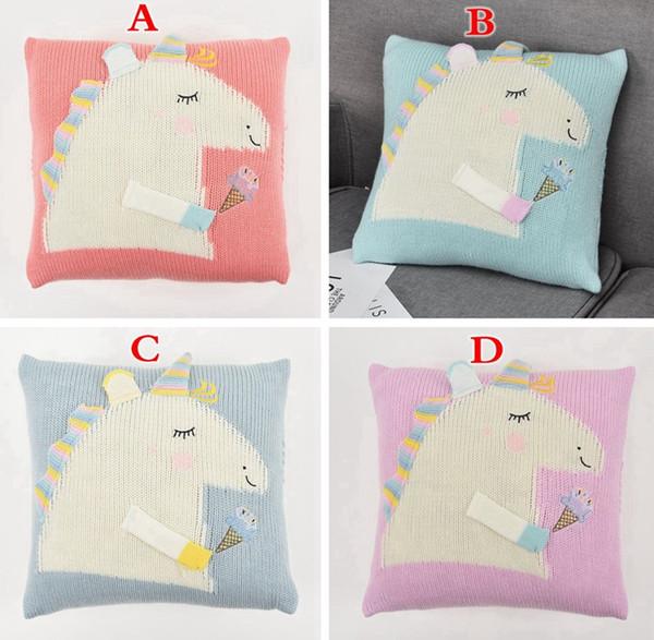 INS KIDS unicorn knitted PILLOW CASE cushion covers Children's sofa pillowcase baby bedding cute cartoon horse pillow case 35*35CM