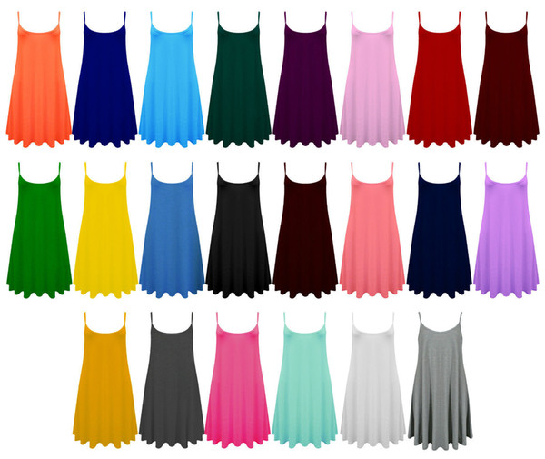 top popular Ladies Camisole Cami Flared Skater Womens Strappy Vest Top Swing Mini Dress 8-24 2020