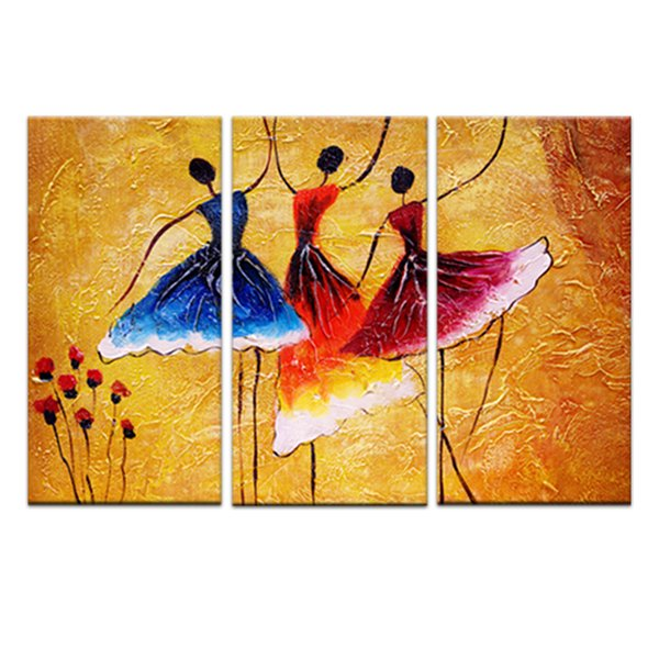 3 peintures murales de peintures sur toile Art contemporain abstrait peintures murales pour les danseurs