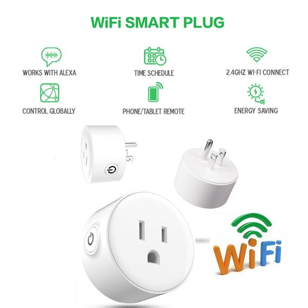 Smart Wifi Socket Adaptador de enchufe de EE. UU. Estándar Wi-Fi Smart Socket Control remoto por IOS o Android Smart Plug Socket Trabaja con Alexa Google