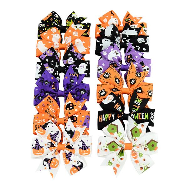 3 polegada Bebê Halloween Grosgrain Ribbon Bows Com Clipe Meninas Crianças Abóbora Fantasma Bebê Menina Pinwheel Grampos de Cabelo Pin Acessórios de Cabelo 0601801