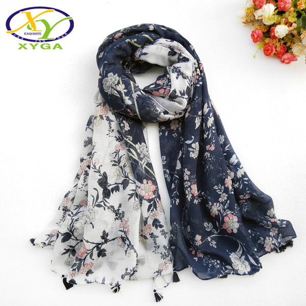 1PC Women Cotton Long Tassels Scarf Flower Printed Thin 2018 Srping Wraps Soft Summer Lady's New Viscose s Autumn Shawl