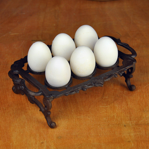 2 Pieces Cast Iron Egg Holder Vintage Metal Eggs Rack Stand Home Kitchen Supply Desk Table hold 6 eggs Wrought Iron Crafts Art Vintage Retro