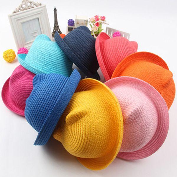Hasır Şapkalar Çocuklar Için Karakter Kulak Dekorasyon Yaz Kap Bebek Güneş Şapka Kız Erkek Çocuklar Için Kova Kap Şapka Plaj Panama Caps