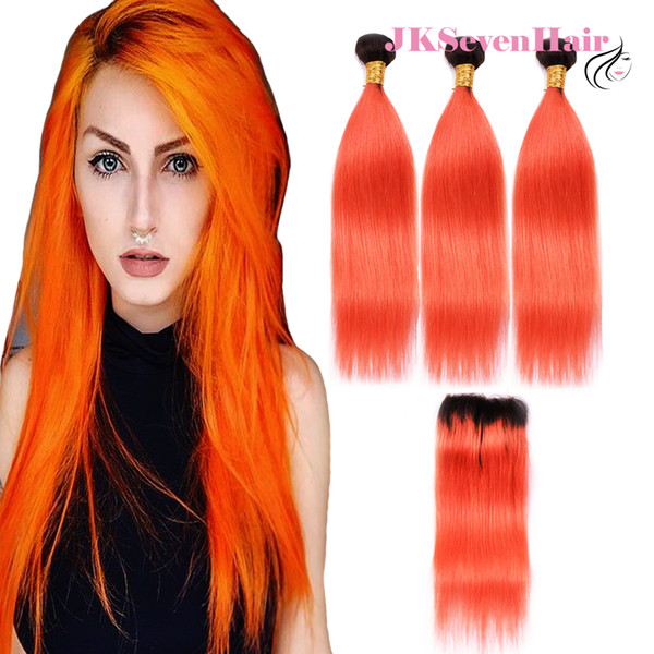 1B Orange Straight Brazilian Virgin Hair Bundles 3PCS With 4x4Inch Lace Closure Two Tone Orange Peruvian Malaysian Indian Remy Hair Wefts