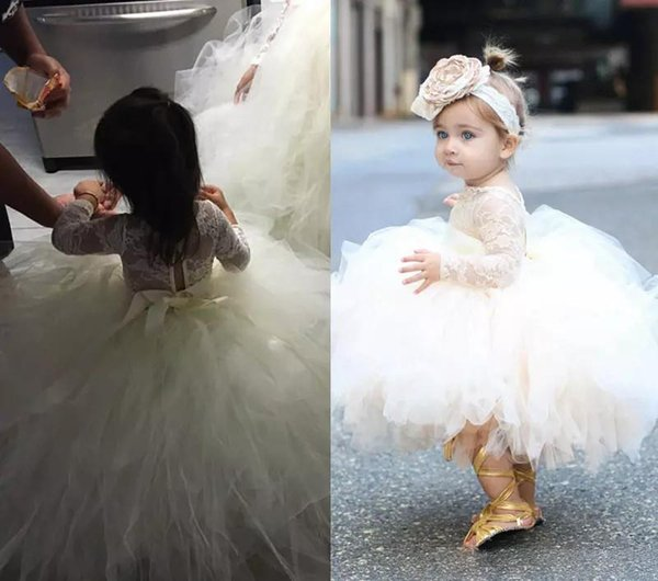 Short Flower Girl Dresses for Country Wedding Party Cute Toddler Long Sleeve Tutu Crew Neck Lace Baby Child Birthday Formal Dresses