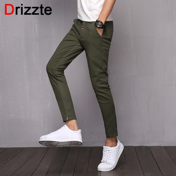 Drizzte Casual Mens Longueur Cheville Slim Fit Pantalon Chino Pantalon Blanc Bleu Gris Noir S18102001