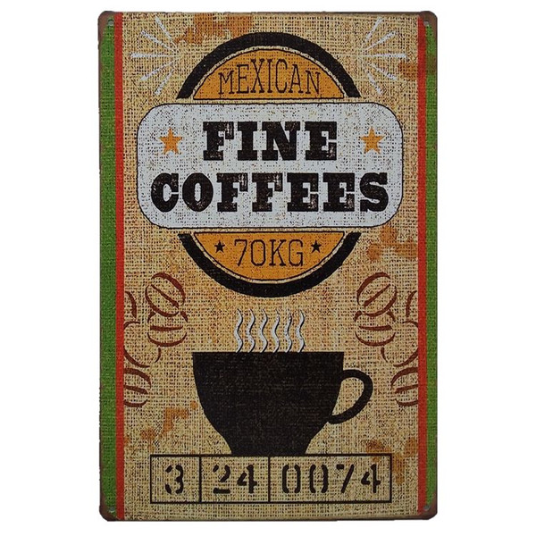 Coffe Designs Vintage Metal Signs Home Decor Cafe Bar Decoration Plaque Pub Decorative Metal Wall Art Plates Tin Sign Retro 20x30cm