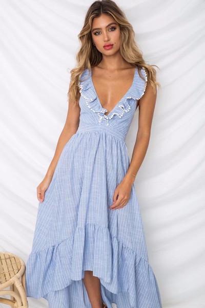 Seksi Boho Mavi Fırfır Rahat Plaj Elbise Maxi Fırfır Trim Şerit Uzun Kadın Elbise Boyutu S-L