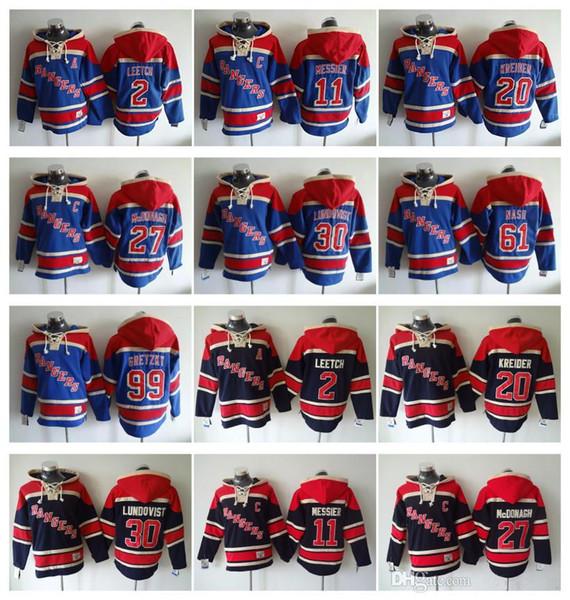 New York Rangers Hokeyi Erkekler Formalar 11 Mark Messier 27 ryan mcdonagh 30 Henrik Lundqvist 61 rick nash Kapüşonlu Sweatshirt Ceketler Jersey