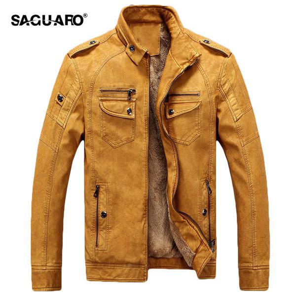 Wholesale- SAGUARO Brand Winter Leather Jacket Men Fashion Warm Velevt Leisure Jackets Coats Classic PU Leather Motorcycle Jacket Plus Size
