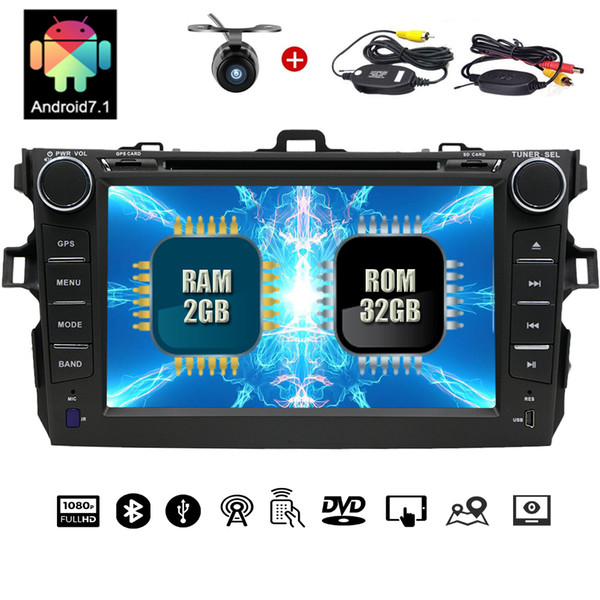 """Wireless Camera+Android Car Stereo 7"""" 1024*600 Double Din car DVD CD Player SWC Mirror Link BT Dual Cam-IN for TOYOTA CAMRY (2007-2012)"""